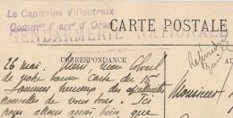 GENDARMERIE NATIONALE Le Capitaine Villoutreix Commdt L'arrt D'ORAN Algérie. 1916.