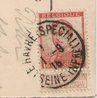 Gouvernement BELGE Au HAVRE. LE HAVRE (SPECIAl) Seine Inférieure Sur  Timbre 10c Belgique Avec TEXTE. 1915