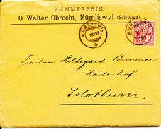 Switzerland Cover Mümliswil 1-11-1895 Single Franked