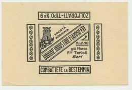 Biglietto Pubblicitario F.lli Terioli/Bari-Unione Industrie Fiammiferi/Milano - Publicités
