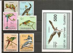 Oiseaux Tropicaux De PANAMA.  6 Timbres Neufs + Bloc-feuillet  Balbuzard Pêcheur