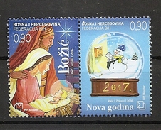 BOSNIA AND HERZEGOVINA 2016,POST MOSTAR,CHRISTMAS AND NEW YEAR,MNH