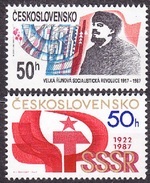 CZECHOSLOVAKIA 1987, Complete Set, MNH. Michel 2931-2932. LENIN, OCTOBER REVOLUTION. Good Condition, See The Scans.
