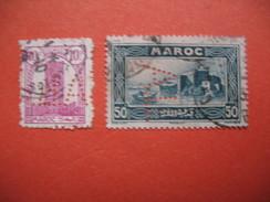 Perforé  Perfin Maroc,  Lot De Timbre Perforé De Perforation : AL1  à Voir