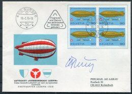 1976 Switzerland Luftschiff Verkehrshaus Luzern Cover Sursee Signed - Covers & Documents
