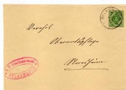 WÜRTT: DP 5 BVS PFLAUMLOCH - NERESHEIM Nebenstempel SCHULTHEISSENAMT PFLAUMLOCH; 1905