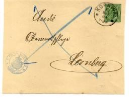 WÜRTT: DP 5 BVS KORNTHAL - LEONBERG Nebenstempel GEMEINDE KORNTHAL 1904