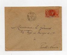 !!! ENTIER POSTAL 10C PALMIER CACHET DE KANDI - DAHOMEY DE 1912 POUR PORTO NOVO