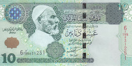 LIBYA 10 DINARS 2004 P-70a SIG/ 9 MUNEISI UNC */* - Libye