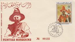 Enveloppe 1er Jour  MAROC   Peintres  Marocains  Oeuvre  De   LAHLOU   1975 - Marocco (1956-...)