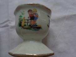 Lot De 2 Coquetiers En ???? + Ramequin (voir Decor Enfants Caneton Chien Coq Etc..) Illustrateur A Identifier - Dishware, Glassware, & Cutlery