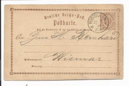 DR  P 1 - 1/2 Gr Adler Von Rostock Nach Wismar - 1874 Bedarfsverwendet