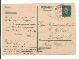 DR P 183 A - 8 Pf. Ebert Antwortteil Von Neustrelitz Nach Rostock - 1930 Bedarfsverw.
