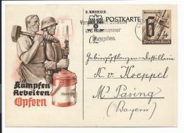 DR P 291 B - 6 Pf. WHW Von Liegnitz  N. Pasing Bedarfsverwendet