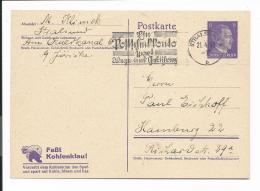DR P 312/01 - 6 Pf. Hitler Von Stralsund Nach Hamburg Bedarfsverwendet