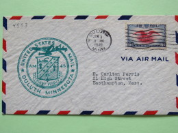 USA 1940 First Flight Cover Duluth To Easthampton - Eagle - Plane