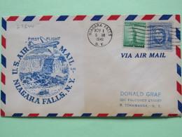 USA 1941 First Flight Cover Niagara Falls To Tonawanda - Luisa May Alcott - For Defense Stamp Statue Of Liberty - Plane - Brieven En Documenten