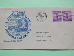 USA 1941 First Flight Cover Niagara Falls To Maple Mount - For Defense Stamp Torch - Plane - Etats-Unis
