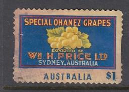 Australia 2016 Nostalgic Fruit Labels - Special Chanez Grapes - Die Cut Used
