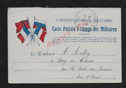 MILITARIA CARTE EN FRANCHISE MILITAIRE SOLDAT AUBRY AIMABLE 4e CHASSEUR Sect POSTAL N°16 X FERTE SOS JOUARRE X CHAUCONIN