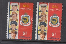 Australia 2016 Centenary Of RSL - Both Sheet & Die Cut  Used
