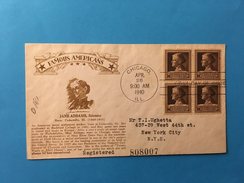 """BUSTA POSTALE """"FAMOUS  AMERICANS """"-JANE ADDAMS-26-4-1940-CHICAGO D NEW YORK CITY"""