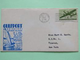 USA 1947 First Flight Cover Gulfport To New York - Plane - Sailing Boat - Etats-Unis
