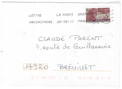 FRANCIA - France - 2011 - Lettre Prioritaire 20g Tissu De France - 1780 Bourgoin-Jallieu Musée - Viaggiata Da 39376A Per