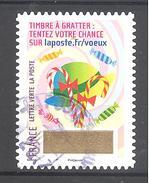 France Autoadhésif Oblitéré (Plus Que Des Voeux Avec Le Timbre à Gratter - N°9) (Cachet Rond)