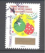 France Autoadhésif Oblitéré (Plus Que Des Voeux Avec Le Timbre à Gratter - N°10) (Cachet Rond)