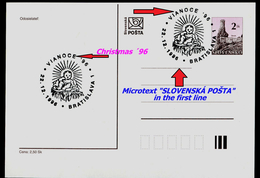 618-SLOVAKIA Prepaid Postal Card Weihnachten '96-Christmas´96, Microtext Commemorative Stamp 1996