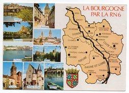 BOURGOGNE--carte Géographique-Multivues (Joigny,Saulieu,Arnay Le Duc,Avallon,Sens,Chalon...) + Blason Et RN6