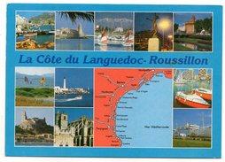 Languedoc-Roussillon--carte Géographique-La Côte-+-Multivues , Cpm éd Combier - Cartes Géographiques