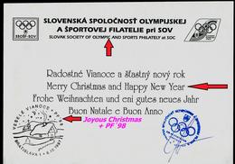 621-SLOVAKIA Postal Card-imprint Frohe Weihnachten-Merry Christmas PF ´98 FIRO Commemorative Stamp 1998