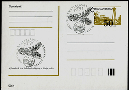 782-CZECHOSLOVAKIA Prepaid Postal Card Joyous Christmas And A Fortunate New Year, PF ´91, Commemorative Stamp 1990