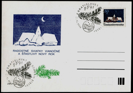 783-CZECHOSLOVAKIA Postal Card-imprint Joyous Christmas And A Fortunate New Year, PF ´91, Commemorative Stamp 1990