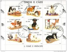1242 San Tomè E Principe 1995 Cani E Gatti Dogs & Cats Serie Completa