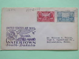 USA 1937 First Flight Cover Watertown To Philadelphia - Navy Issue Decatur MacDonough - Army Lee Jackson