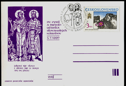 787-CZECHOSLOVAKIA Postal Card St. Cyril And St. Methodius Patrons Of Europe, Teachers Of Slavs Commemorative Stamp 1990