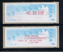 ATMS, LISA1, FRF, OISEAUX DE JUBERT, 0.10, Avec Reçu FRF En Français. Programme De La Préparation à L'Euro.