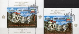 Denkmal Rushmore 1976 Äquator.Guinea 620+Block 179 O 15€ Jefferson Roosevelt Bloc S/s Gold Sheet M/s Equator.Africa