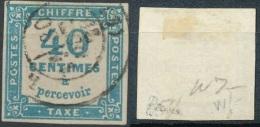 TX7, 40c Bleu Bien Margé Et Signé Brun