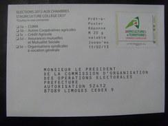 """17542- PAP Réponse Elections Chambre D'Agriculture 2013 Limoges (Hte Vienne), Collège """"Collectivités"""", Neuf"""