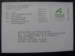 """17544- PAP Réponse Elections Chambre D'Agriculture 2013 Cayenne (Guyanne), Collège """"Collectivités"""", Neuf"""