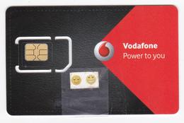 Polynésie Française/Tahiti-Vodafone/GSM/Plastifiée Rouge Et Noire 2eme Mdle - Carte à Puce Détachable Pour Tel. Portable