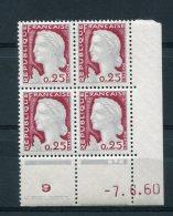 1751 - FRANCE  N°1263  0.25Fr Gris Clair Et Carmin Foncé  Marianne De Decaris   Du 7.6.60       LUXE - 1960-1969