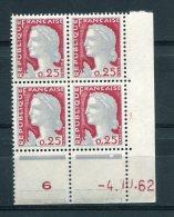1752 - FRANCE  N°1263  0.25Fr Gris  Et Carmin   Marianne De Decaris   Du 4.10.62       LUXE - 1960-1969