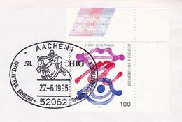 1995 Aachen, Germany COVER Chio DRESSAGE HORSE SHOWJUMPING EVENT Pmk Horses Sport Stamps