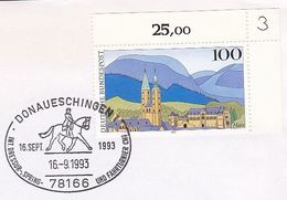 1993 Donaueschingen GERMANY COVER HORSE DRESSAGE Sport EVENT Pmk Stamps Horses
