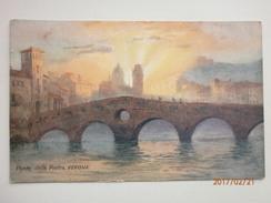 Postcard Ponte Della Pietra Verona Italy Tuck Oilette Number 7990 My Ref B1851 - Paintings
